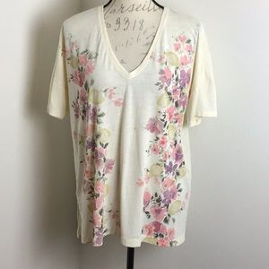 Lucky Brand- Floral Notched Hem Tee